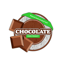 Brown chocolate plate circle with bars green tape vector