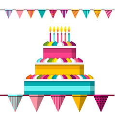 cake with lit candles and flags flat design vector image