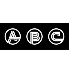 Capital letters A B C From double white stripe vector image