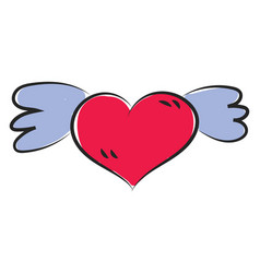 Cartoon funny red heart with blue wings or color vector