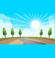cartoon landscape road sun tree vector image