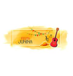 celebration banner for festa junina with guitar vector image