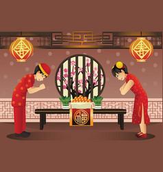 chinese kids celebrating chinese new years vector image