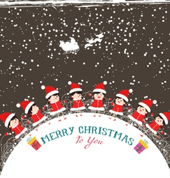 Christmas kids background children in circle vector