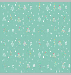 Christmas tree outline seamless pattern vector