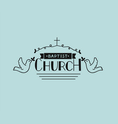 Church logo with hand lettering and cross and vector