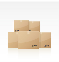 Closed cardboard boxes vector