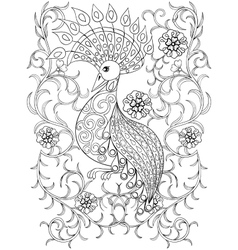 coloring page with bird in flowers entangle vector image