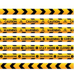 Corona virus warning quarantine police line vector