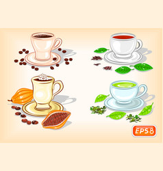 Cup of coffee chocolate black and green tea vector