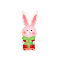cute rosy easter bunny with colorful gift in hand vector image