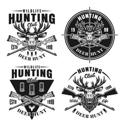 deer hunt set four hunting club emblems vector image