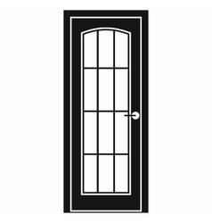 Door with glass icon simple style vector image
