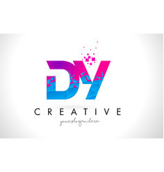 Dy d y letter logo with shattered broken blue vector