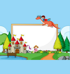 fantasy park scene with blank banner vector image