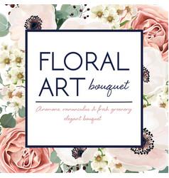 floral card design with garden flower pink rose vector image