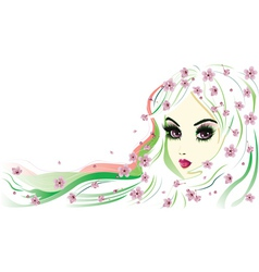 Floral Girl with White Hair vector image