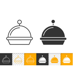 food tray simple black line icon vector image