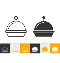 food tray simple black line icon vector image