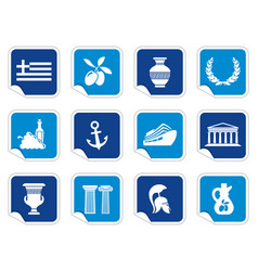 greece icons on stickers vector image