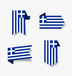 greek flag stickers and labels vector image