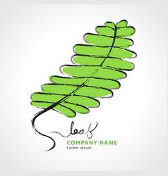 Green leaf hand drawn logo vector