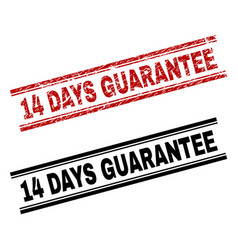 grunge textured and clean 14 days guarantee stamp vector image