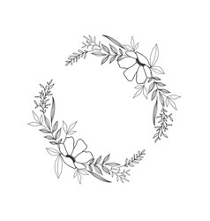 hand drawn floral oval frame wreath on white vector image