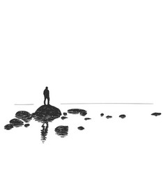 hand drawn silhouette of man standing on big vector image
