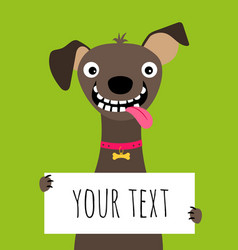 Happy dog and text frame card vector