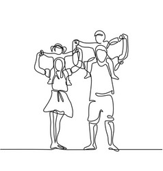 Happy family with children on shoulders vector