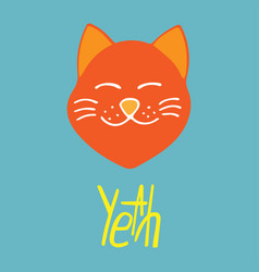 happy hand-drawn cat with lettering vector image