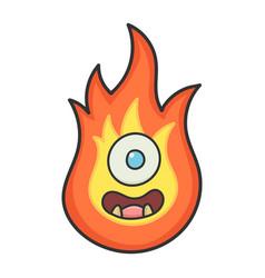 Happy monster fireball cartoon vector