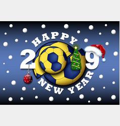 Happy new year 2019 and handball ball vector