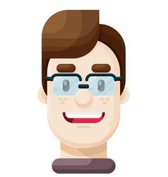 happy young man wearing eyeglasses icon vector image