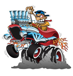 Highboy hot rod race car cartoon vector