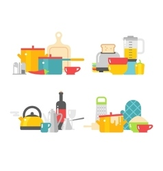 Home kitchenware devices in color flat vector image