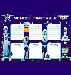 humanoid robots and androids school timetable vector image