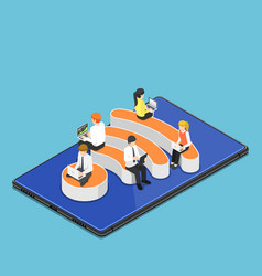 isometric business people with laptops working vector image