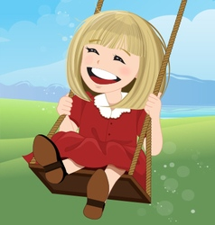Jovial girl on a swing with happy face vector
