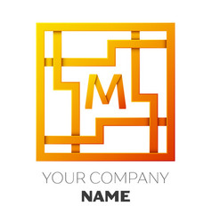 Letter m symbol in the colorful square maze vector