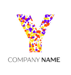 letter y logo with purple yellow red particles vector image