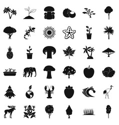 live nature icons set simple style vector image