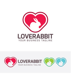 Love rabbit logo design vector