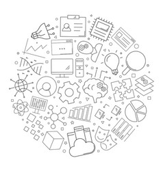 machine learning circle background from line icon vector image