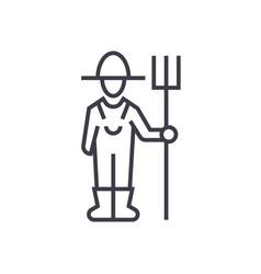 Male farmer with hayfork linear icon sign symbol vector