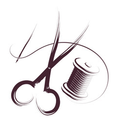 needle with thread and spool thread silhouette vector image