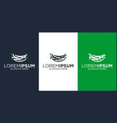 Nest and leaf logo design templates vector