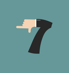 Number 7 letter businessman hand font it shows vector