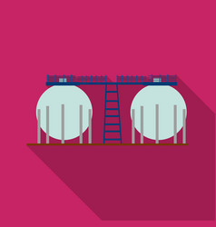 Oil refinery tank icon in flat style isolated on vector